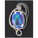 Drusy Gemstone Pendant in Sterling Silver Wire