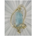 50ct.  Faceted Aquamarine Gemstone  Pendant in handcrafted Sterling Silver Setting