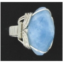 Large Faceted Aquamarine Ring  in a Sterling Silver