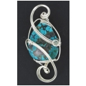 Chinese Turquoise Pendant  in Silver Wire Wrapped Setting
