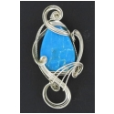Turquoise Stone Pendant in Silver Wire Wrapped Setting