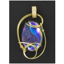 Drusy Stone Pendant in Gold Wire Setting