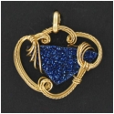 Blue Drusy Pendant in Gold Wire