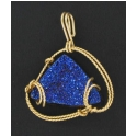 Drusy Stone Pendant in Gold Wire