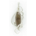 Marquise Rutilated Quartz Gemstone Wire Wrapped Sterling Silver Pendant