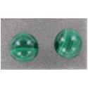 6mm Round Malachite Sterliing Silver Stud Earrings