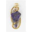 Fancy Charoite Gemstone in Gold Filled Pendant Setting