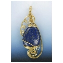Lapis Lazuli Pear Cut Gemstone in Gold Filled Wire Setting
