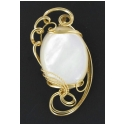 Large Irredescent Mabe Pearl Pendant set in 14 kt Rolled Gold Wire