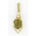 Large Shield Cut Citrine Gemstone Pendant with Pearl Accents