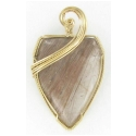 Jumbo Shield Cut Rutilated Quartz Gemstone Pendant set in Gold Filled Wire